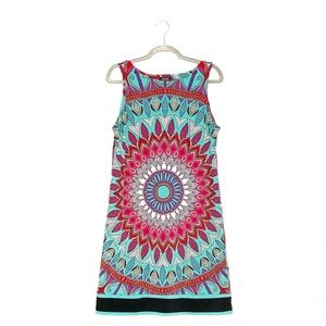 Nicole Miller Turquoise Paisley Print Sheath Dress